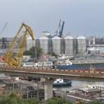 Odessa industrial seaport at sunset, Ukraine — Stock Photo #80812078