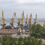 Odessa industrial seaport at sunset, Ukraine — Stock Photo #80812082