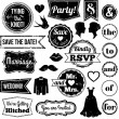 Vector Collection of Vintage Wedding Themed Badges and Stamps — Stock Vector #51924401