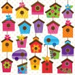 Vector Set of Cute and Colorful Bird Houses — Vector de stock  #51922707