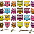 Doodle Style Vector Set of Cute Owls and Branches — Wektor stockowy