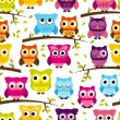 Seamless and Tileable Vector Owl Background Pattern — Stock Vector #51923167