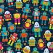 Seamless Tileable Vector Background Pattern with Cute Robots — Stock Vector #51923455