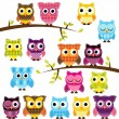Vector Set of Patchwork Or Quilt Style Owls and Branches — Stock Vector #51923751