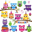 Vector Collection of Party or Celebration Themed Owls — Stock Vector #51923781