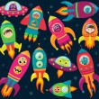Постер, плакат: Vector Collection of Retro Style Rocketships and Spaceships with Aliens Robots and Astronauts