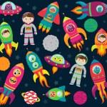 Vector Collection of Cartoon Rocketships, Aliens, Robots, Astronauts and Planets — Stock Vector #51923811
