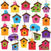 Vector Set of Cute and Colorful Bird Houses — Stock Vector