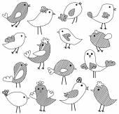 Vector Set of Doodle Style Birds — Stock Vector