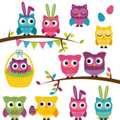 Vector Collection of Easter and Spring Themed Owls — Vector de stock