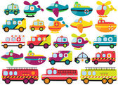 Vector Collection of Cute or Retro Style Emergency Rescue Vehicles — Stockvector