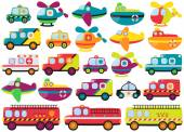 Vector Collection of Cute or Retro Style Emergency Rescue Vehicles — Vector de stock