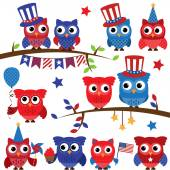 Set of Vector Fourth of July or Patriotic Owls and Branches — Stock Vector