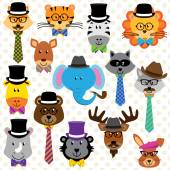Cute Cartoon Collection of Well Dressed Animals — Stock Vector