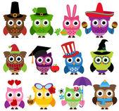 Vector Set of Cute Holiday and Seasonal Owls — Stock Vector