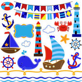 Vector Collection of Nautical and Sailing Themed Elements — Stock Vector
