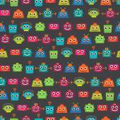 Seamless Tileable Vector Background Pattern with Cute Robots — Stock Vector