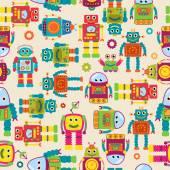 无缝的花木矢量背景图案与可爱的机器人 — 图库矢量图片
