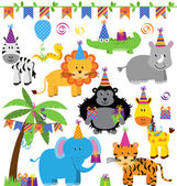 Vector Collection of Birthday Party Themed Jungle, Zoo or Safari Animals — Stock Vector