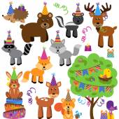 Vector Collection of Birthday Party Themed Forest or Woodland Animals — Stockvektor