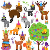 Vector Collection of Birthday Party Themed Forest or Woodland Animals — Vecteur