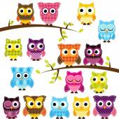 Vector Set of Patchwork Or Quilt Style Owls and Branches — Stock Vector