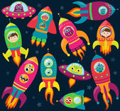 Vector Collection of Retro Style Rocketships and Spaceships with Aliens, Robots and Astronauts — Stock Vector
