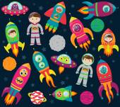 Vector Collection of Cartoon Rocketships, Aliens, Robots, Astronauts and Planets — Vector de stock