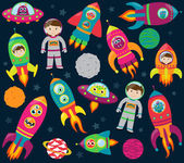 Vector Collection of Cartoon Rocketships, Aliens, Robots, Astronauts and Planets — Stock Vector