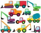 Cute Vector Collection of Construction Equipment and Vehicles — Stockvector