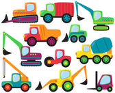 Cute Vector Collection of Construction Equipment and Vehicles — Stock Vector