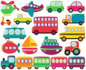 Cute Vector Collection of Transportation Vehicles — Stock Vector