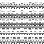 Black and White Doodle Style Seamless Tileable Tribal Pattern — Stock Vector