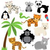 Vector Collection of Cute Zoo, Jungle or Wild Animals — Stock Vector
