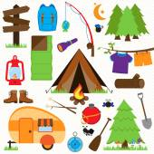 Vector Collection of Camping and Outdoors Themed Images — Stock Vector