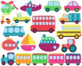 Vector Collection of Cute Patchwork Style Transportation Images — Stock Vector