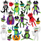 Vector Collection of Adorable Halloween Themed Sock Monkeys — Stock Vector