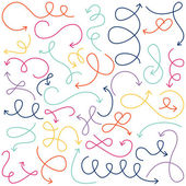 Vector Collection of Doodled Squiggly Arrows — Stock Vector