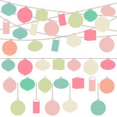 Vector Set of Pastel Colored Holiday Paper Lanterns and Lights — Stock Vector
