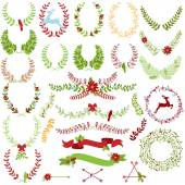 Vector Collection of Christmas Holiday Themed Laurels and Wreaths — Stock Vector