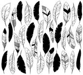 Vector Set of Stylized or Abstract Feathers and Feather Silhouettes — Stock vektor