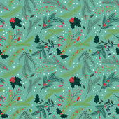 Seamless Tileable Christmas Holiday Floral Background Pattern - Vector Illustration — Stock Vector