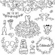 Hand Drawn Doodle Style Wedding Vector Set with Dress, Tuxedo and Monogram Border — Stock Vector #59545933