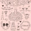 Hand Drawn Doodle Style Wedding Vector Set with Dress, Tuxedo and Monogram Border — Stock Vector #59546075