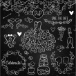 Hand Drawn Chalkboard Wedding Vector Set with Dress, Tuxedo and Monogram Border — Stock Vector #59546469