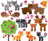 Vector Set of Valentine's Day or Love Themed Forest Animals — Stock Vector