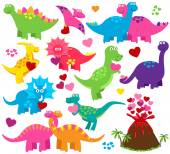Vector Set of Valentine's Day or Love Themed Dinosaurs — Stock Vector