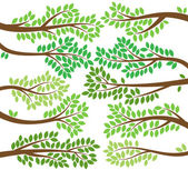 Vector Collection of Leafy Tree Branch Silhouettes — Stock Vector