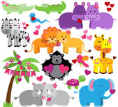Vector Collection of Cute Valentine's Day or Love Themed Zoo Animals — Stock Vector