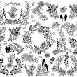 Valentine's Day or Wedding Themed Laurel and Floral Vector Collection — Stock Vector #63599333